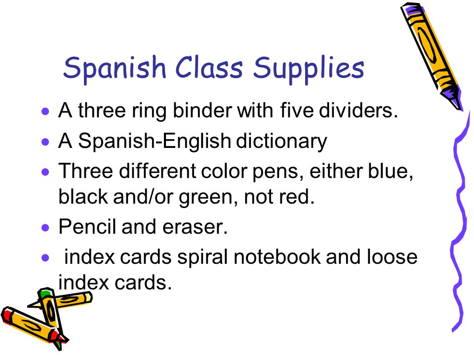 Spanish Class Supplies