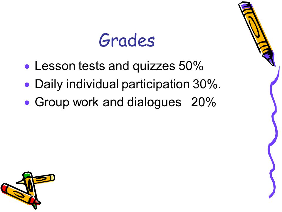 Grades Lesson tests and quizzes 50%