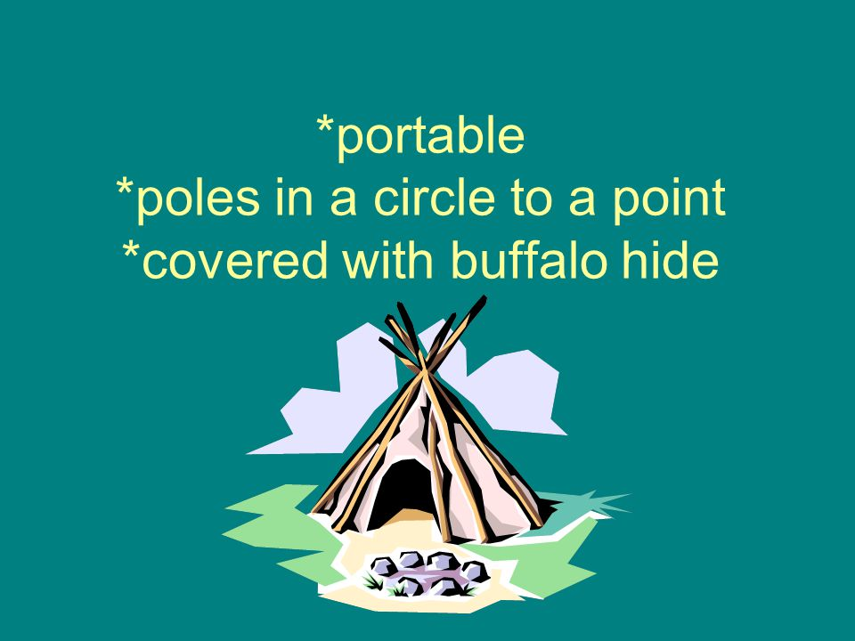 *portable *poles in a circle to a point *covered with buffalo hide
