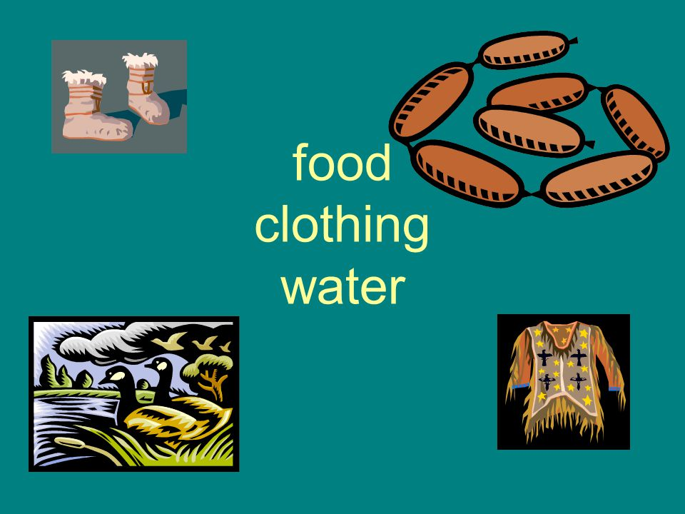 food clothing water