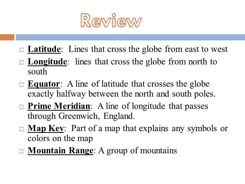 Review Latitude: Lines that cross the globe from east to west