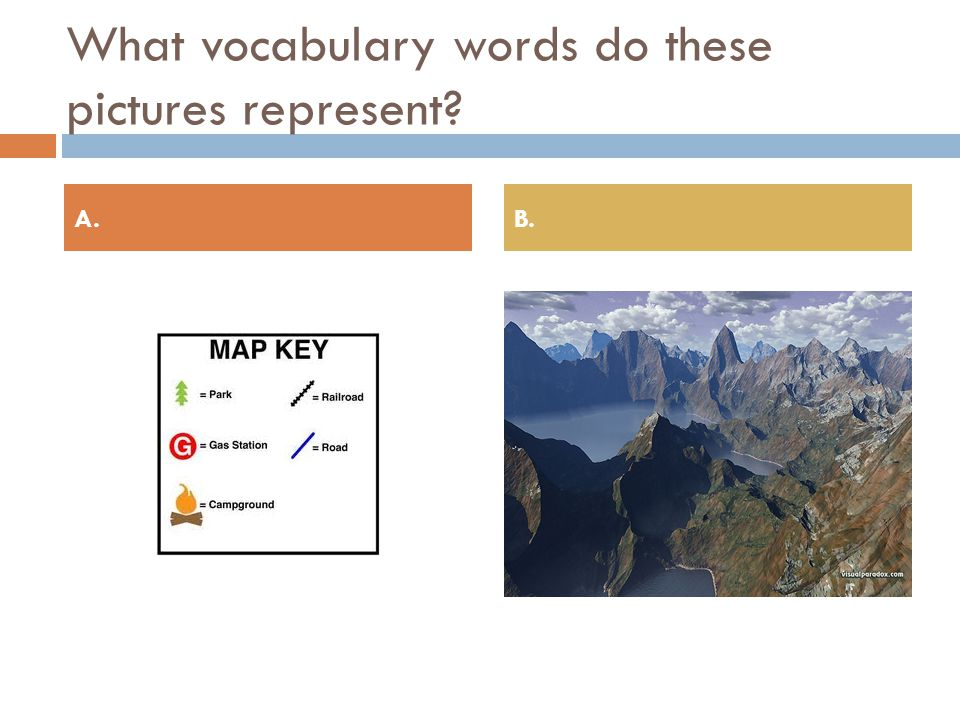 What vocabulary words do these pictures represent