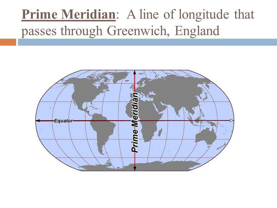 Prime Meridian: A line of longitude that passes through Greenwich, England