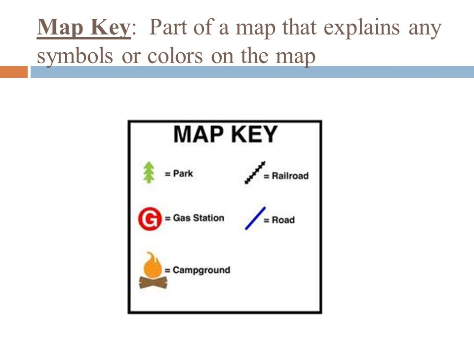 Map Key: Part of a map that explains any symbols or colors on the map