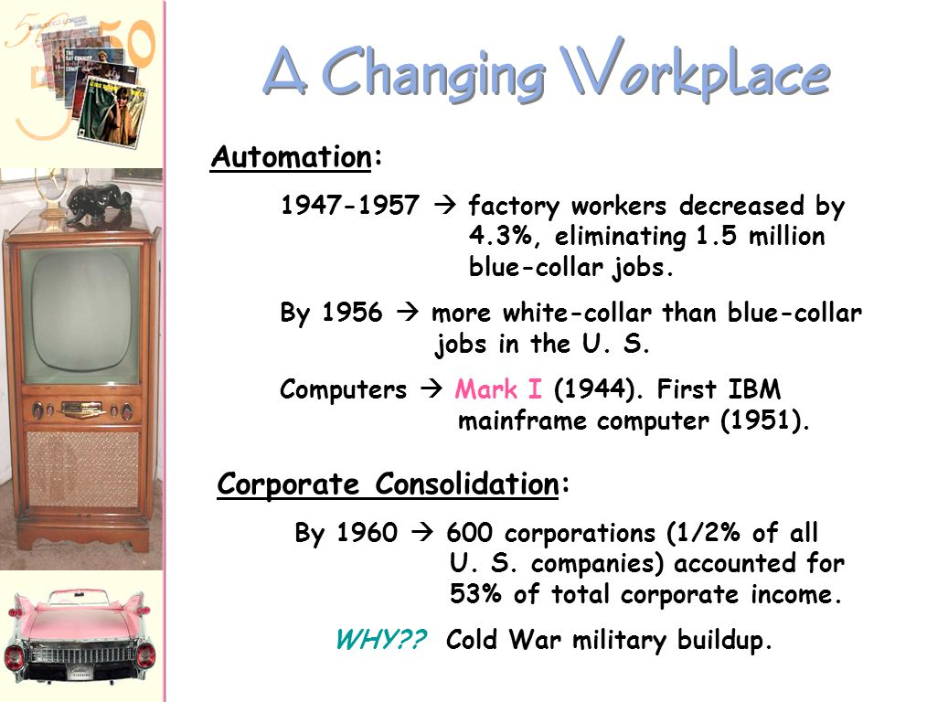 A Changing Workplace Corporate Consolidation: Automation: