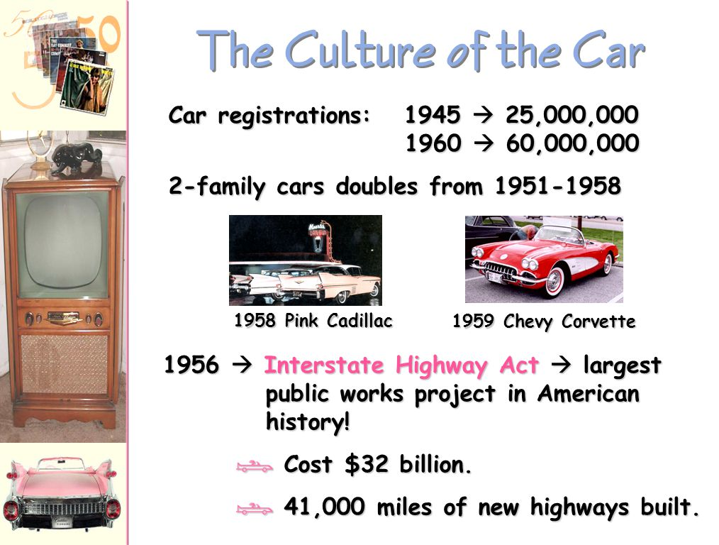 The Culture of the Car Car registrations: 1945  25,000,000 1960  60,000,000.