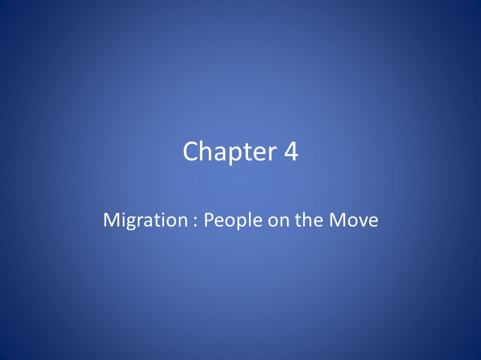 Migration : People on the Move