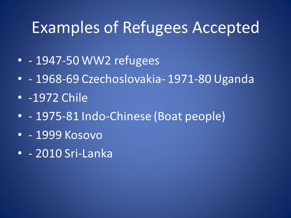 Examples of Refugees Accepted