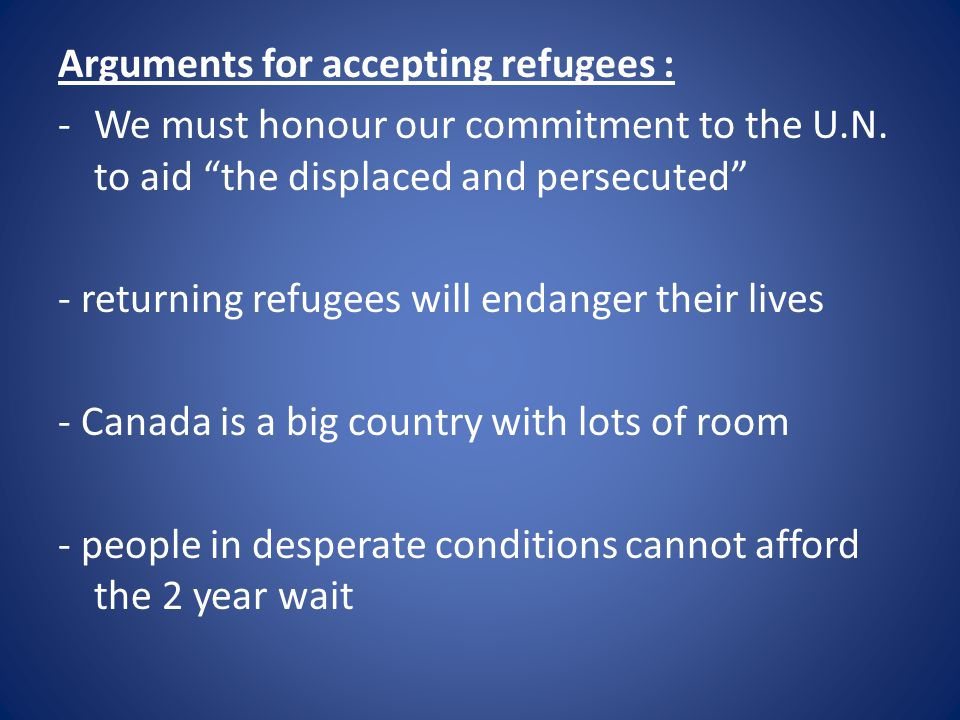 Arguments for accepting refugees :