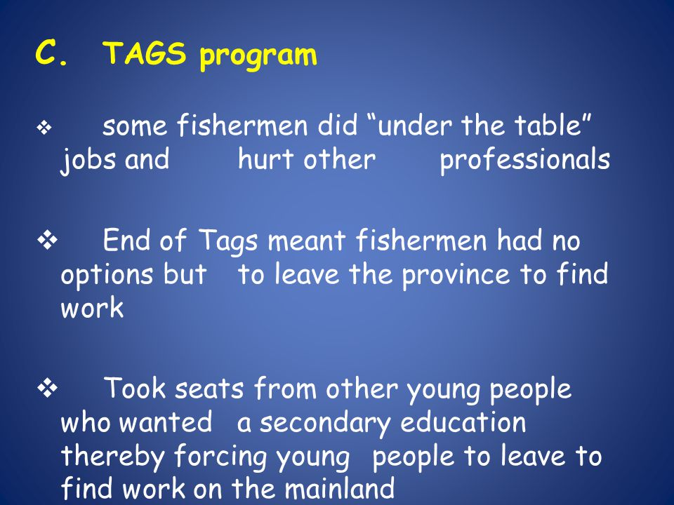 C. TAGS program some fishermen did under the table jobs and hurt other professionals.
