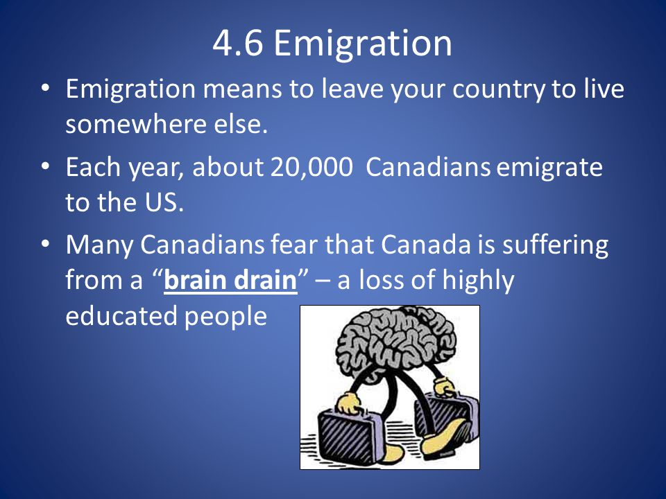 4.6 Emigration Emigration means to leave your country to live somewhere else. Each year, about 20,000 Canadians emigrate to the US.