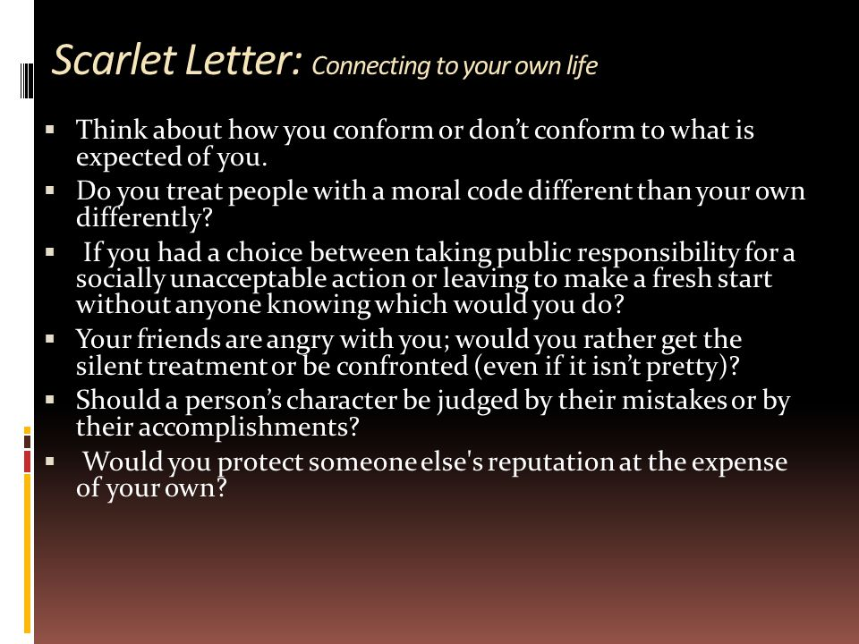 Scarlet Letter: Connecting to your own life