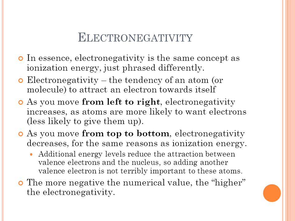 Electronegativity In essence, electronegativity is the same concept as ionization energy, just phrased differently.