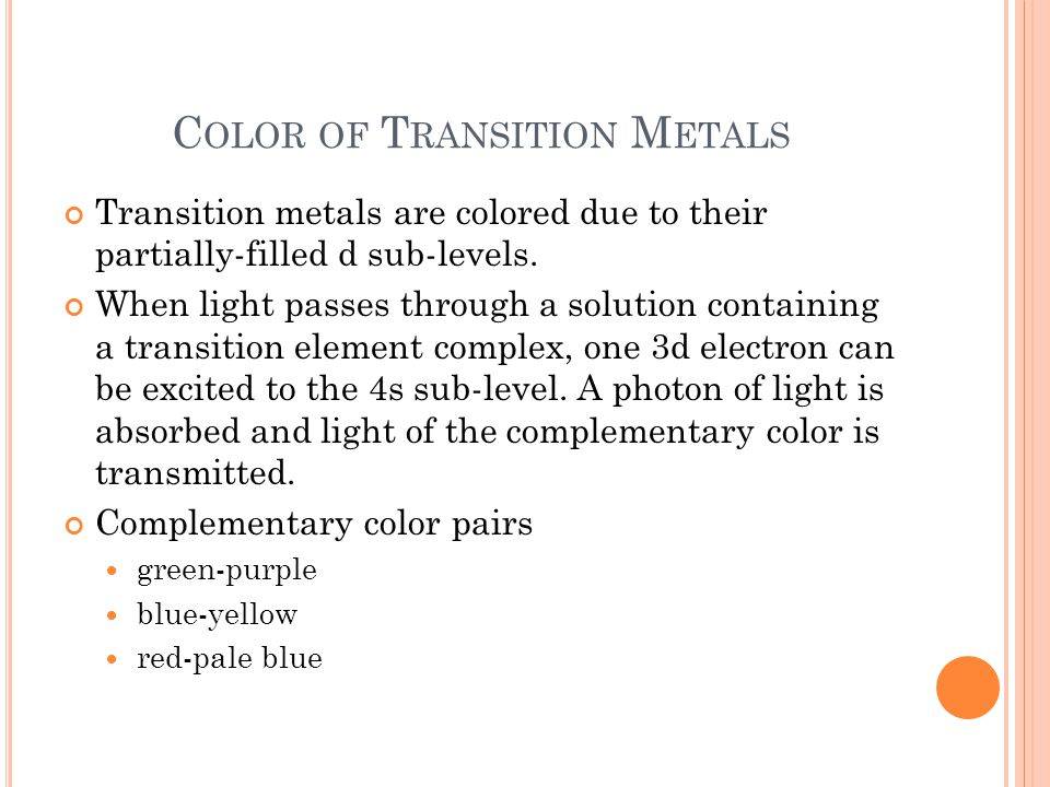 Color of Transition Metals