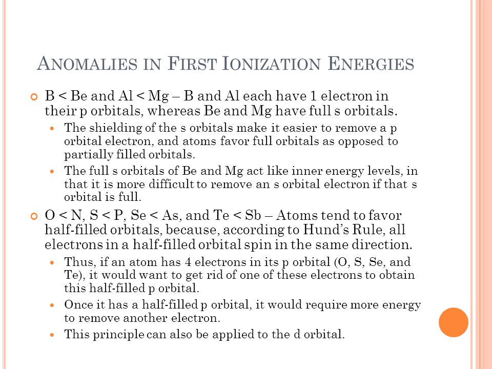 Anomalies in First Ionization Energies