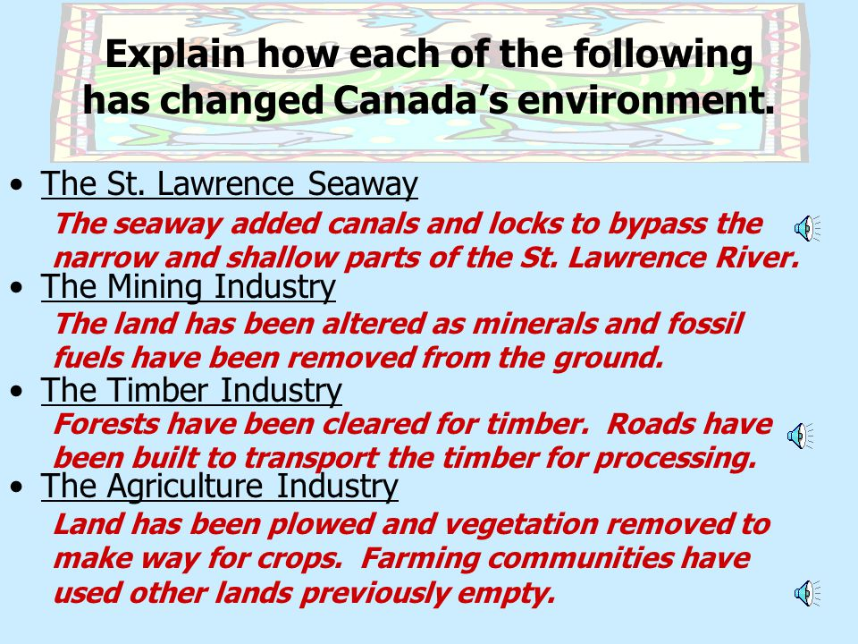 Explain how each of the following has changed Canada's environment.