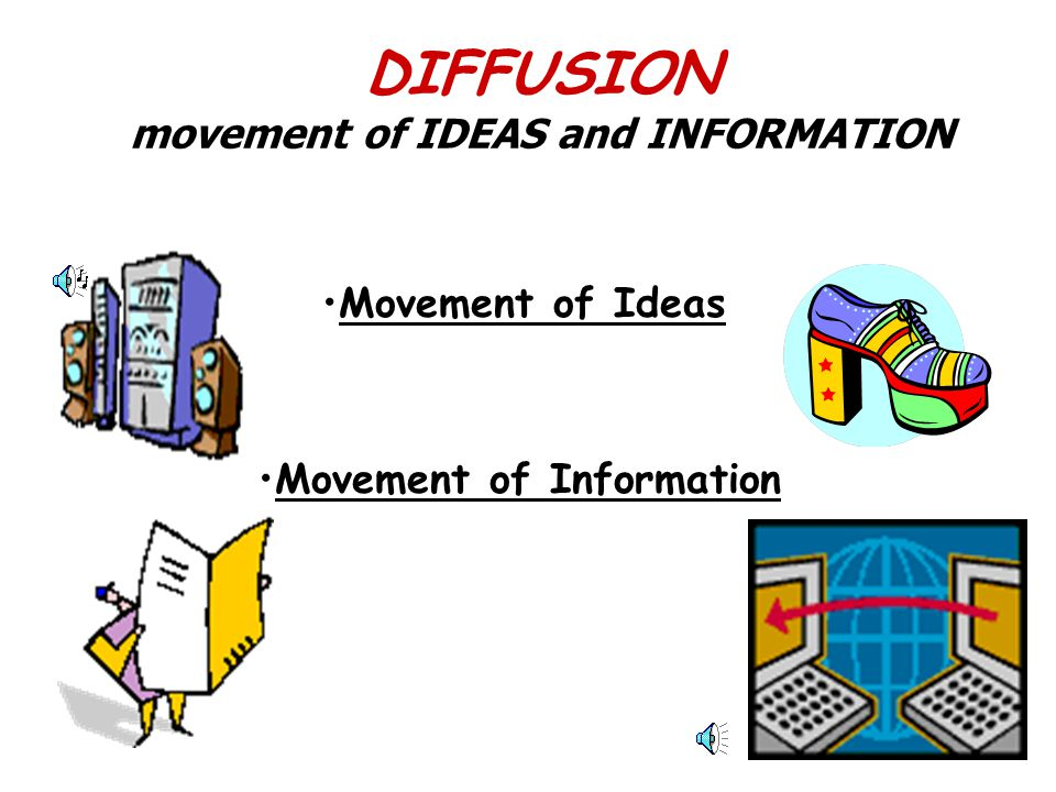 DIFFUSION movement of IDEAS and INFORMATION Movement of Information