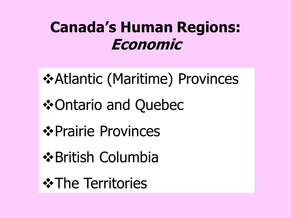 Canada's Human Regions: Economic