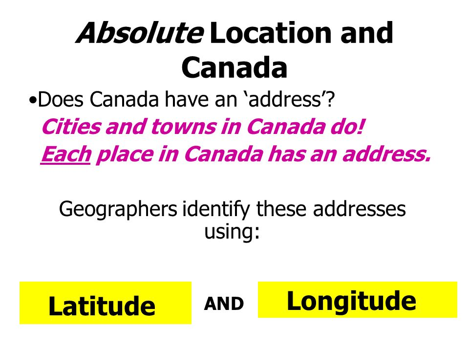 Absolute Location and Canada