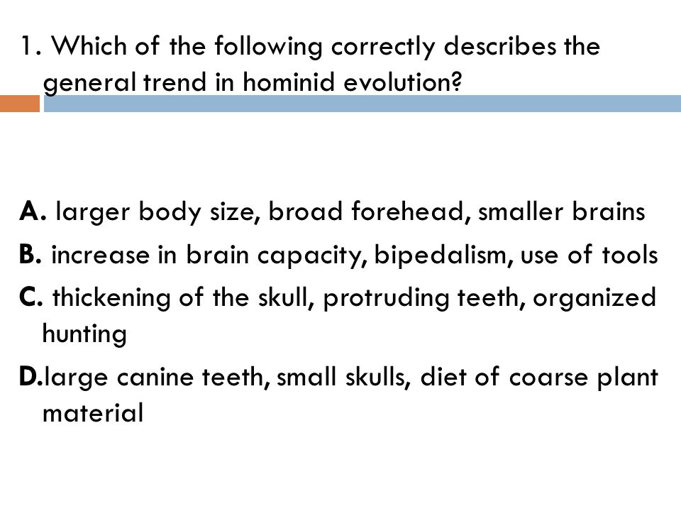 1. Which of the following correctly describes the general trend in hominid evolution.