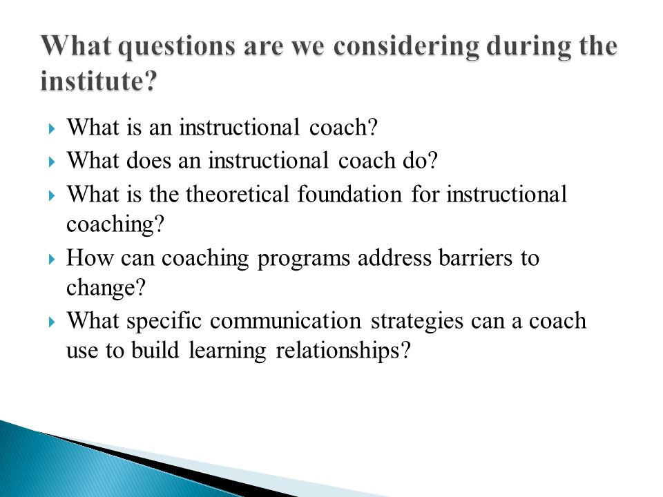 What questions are we considering during the institute