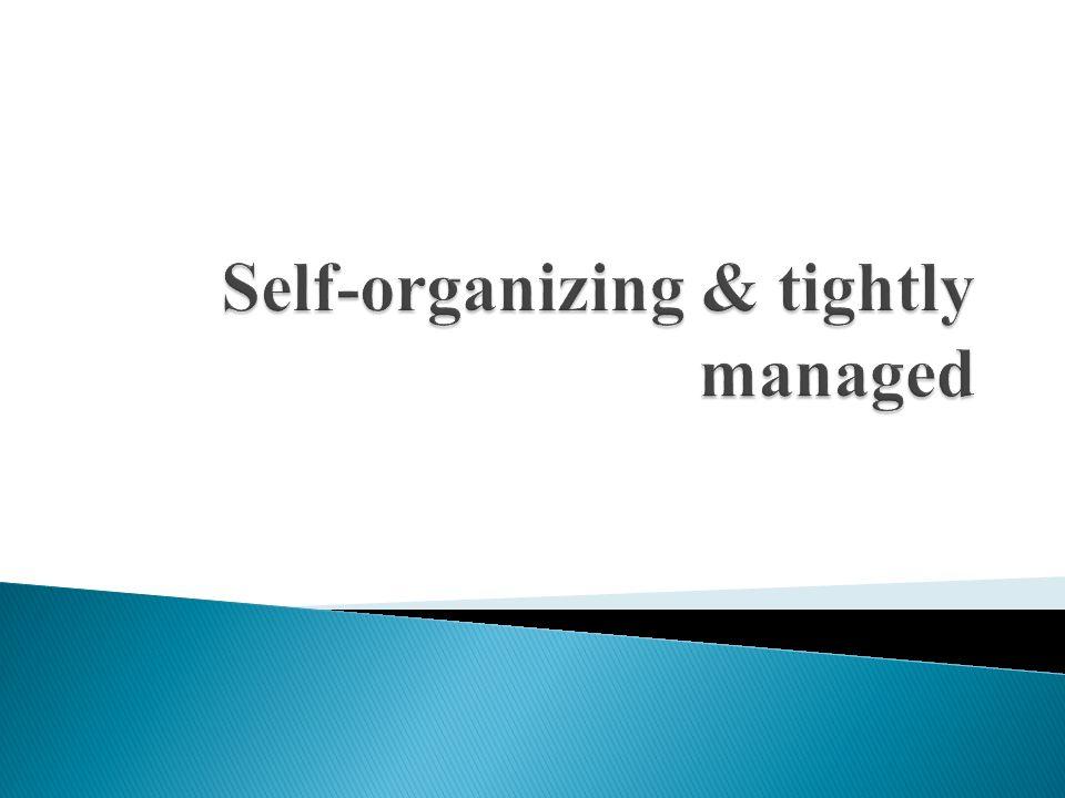 Self-organizing & tightly managed