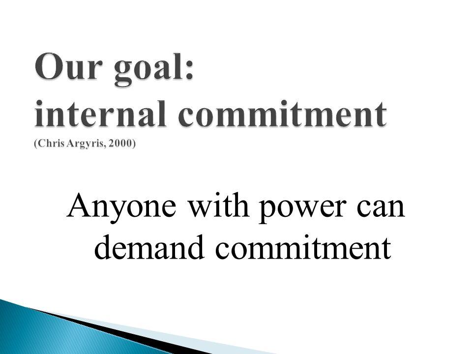 Our goal: internal commitment (Chris Argyris, 2000)