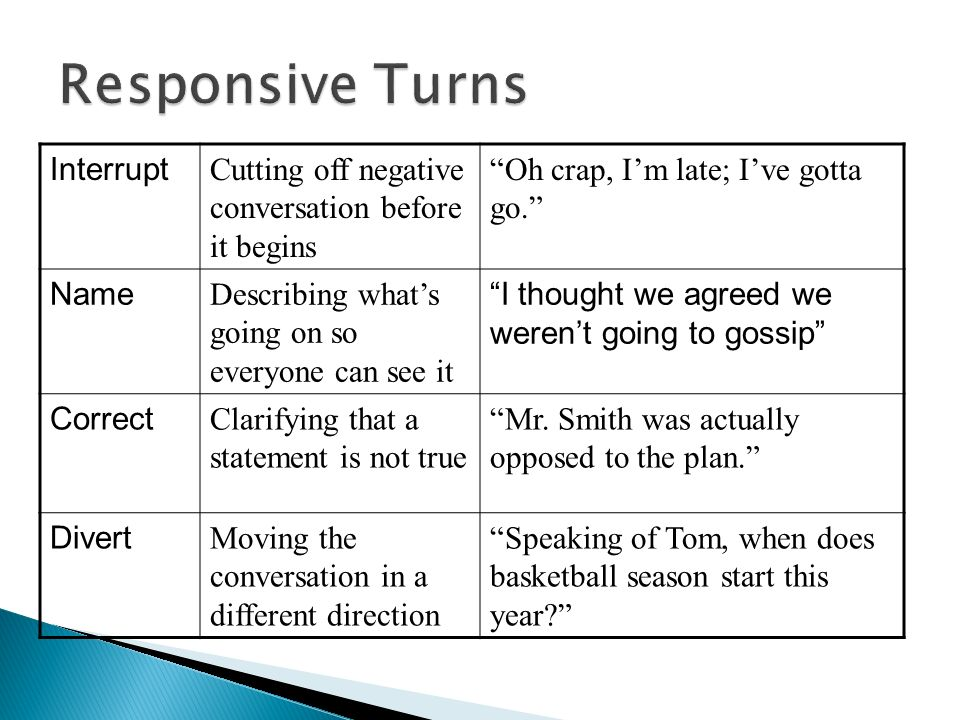 Responsive Turns Interrupt