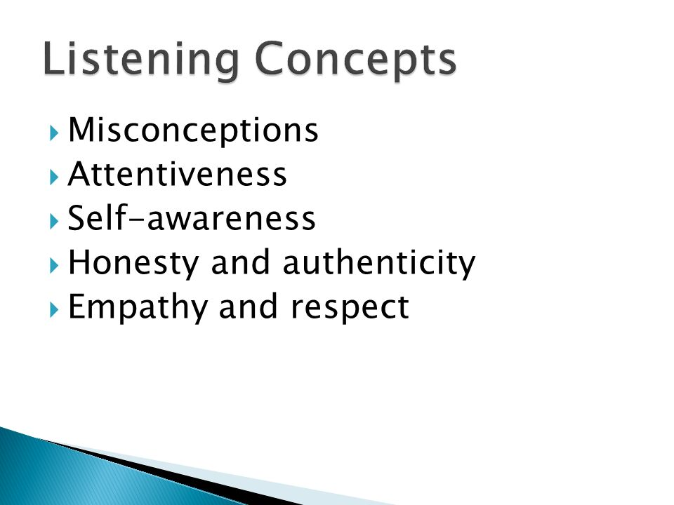 Listening Concepts Misconceptions Attentiveness Self-awareness