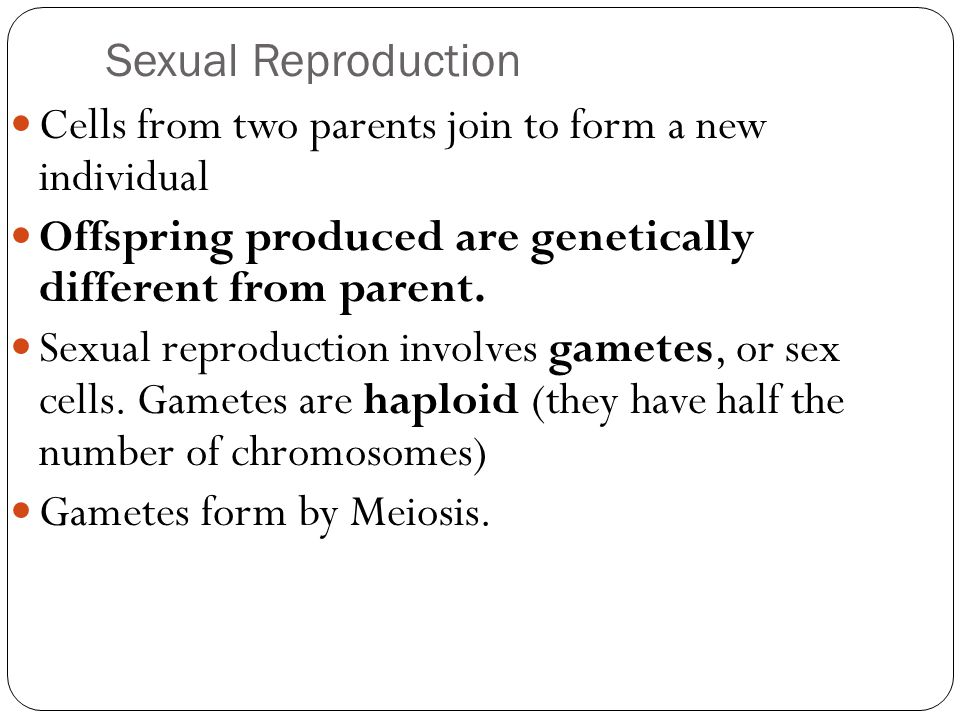 Sexual Reproduction Cells from two parents join to form a new individual. Offspring produced are genetically different from parent.