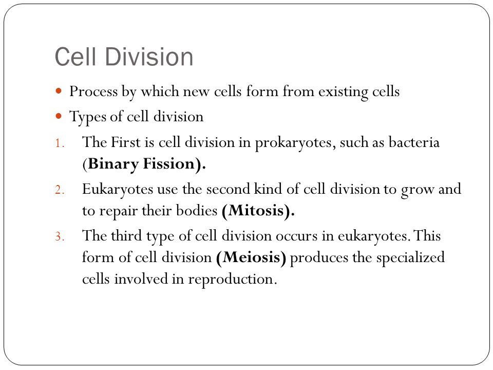 Cell Division Process by which new cells form from existing cells