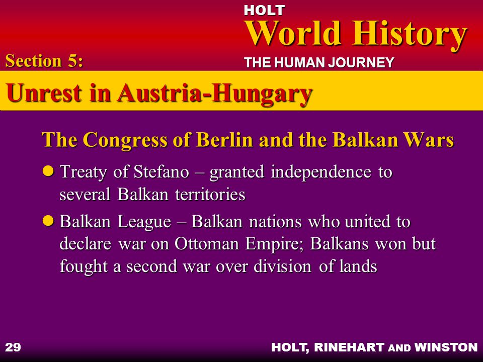 The Congress of Berlin and the Balkan Wars