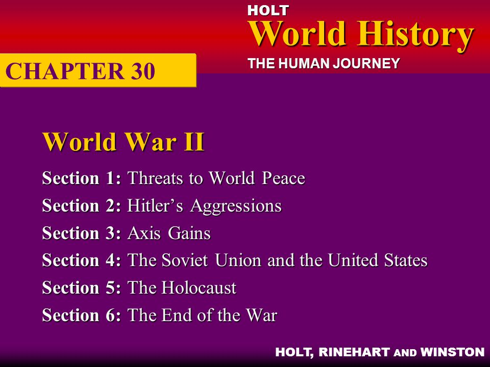 World War II CHAPTER 30 Section 1: Threats to World Peace