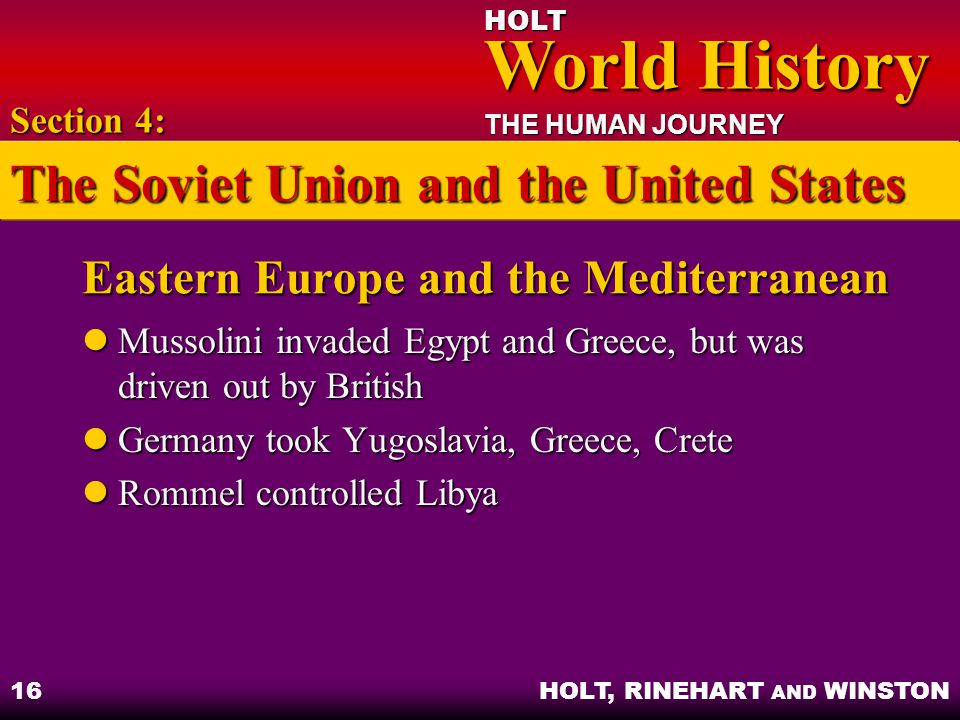 Eastern Europe and the Mediterranean