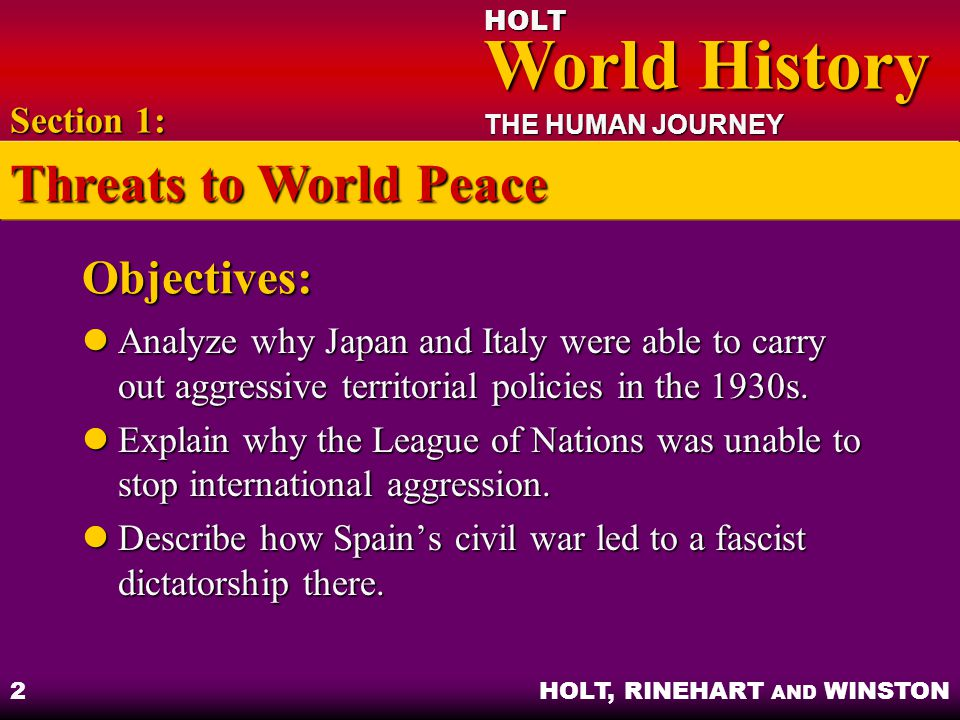 Threats to World Peace Objectives: Section 1: