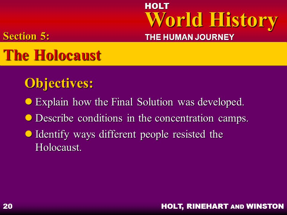 The Holocaust Objectives: Section 5: