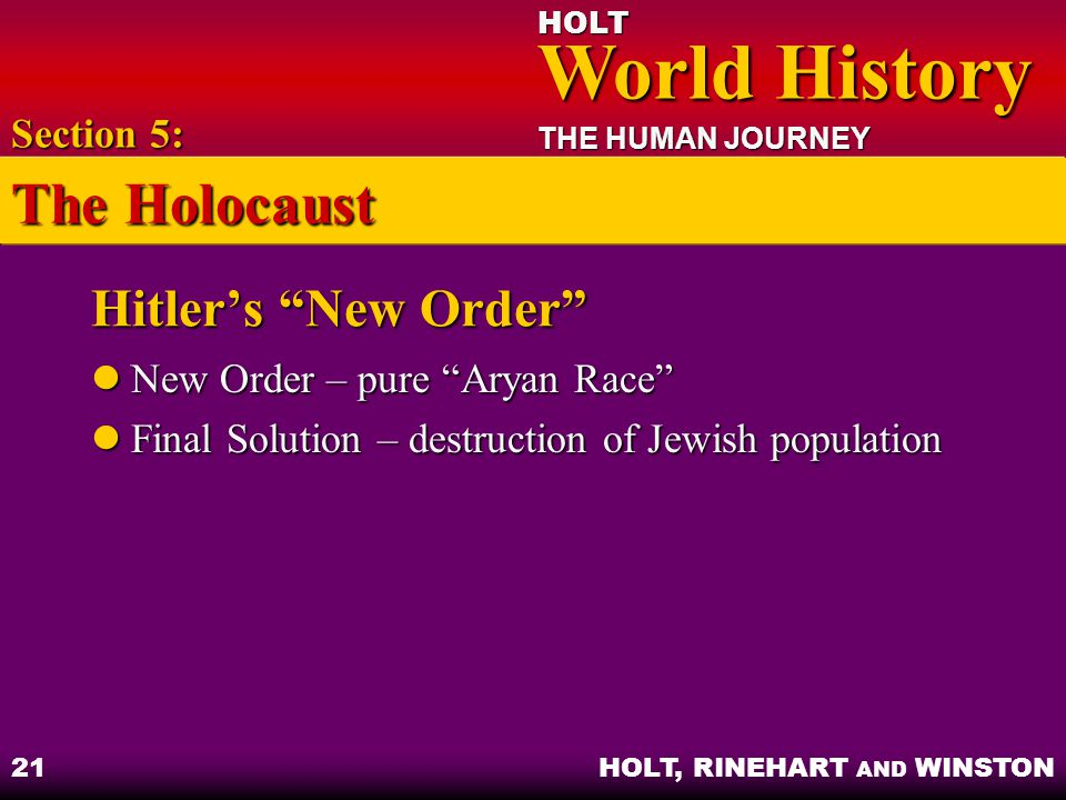 The Holocaust Hitler's New Order Section 5: