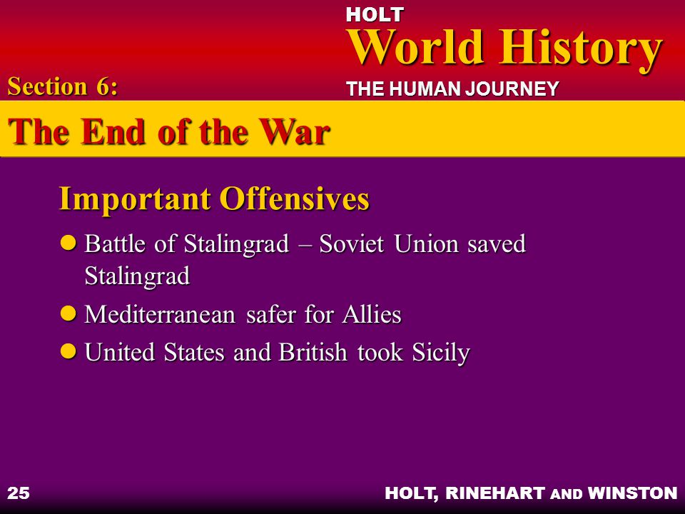 The End of the War Important Offensives Section 6: