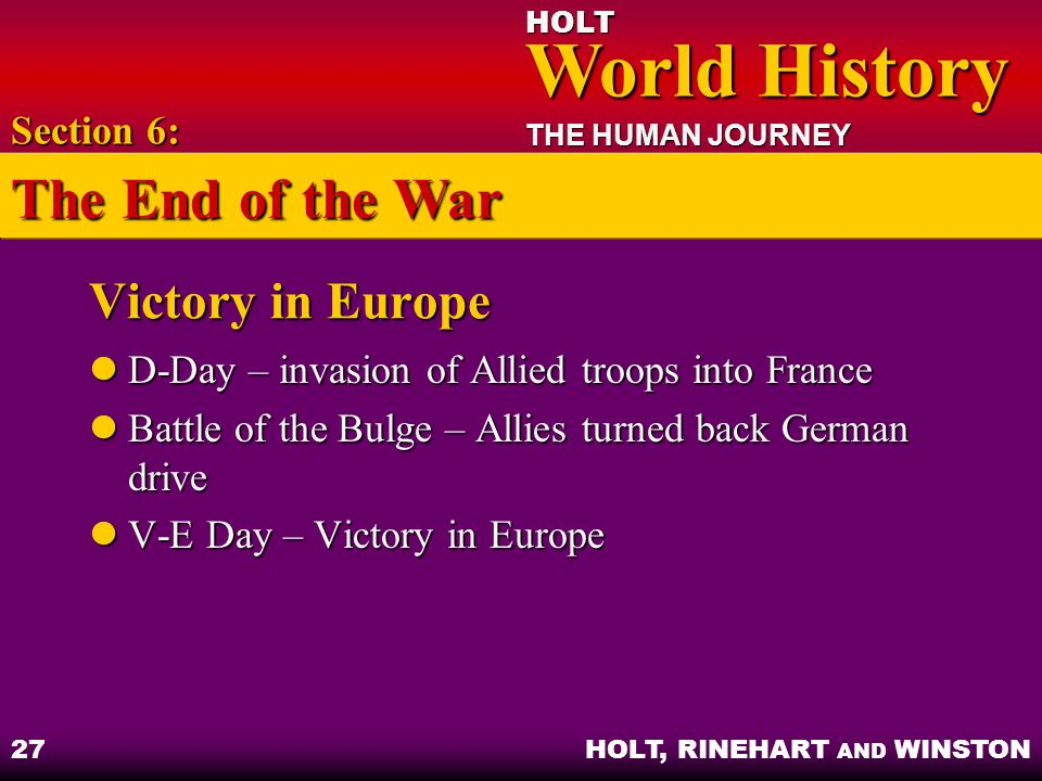 The End of the War Victory in Europe Section 6: