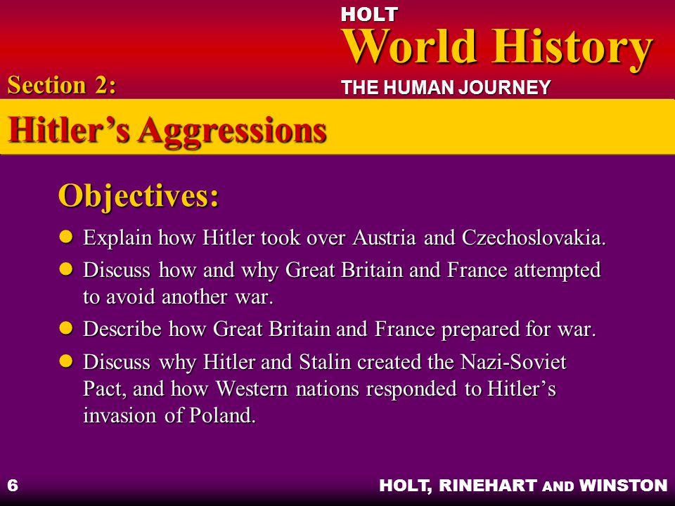 Hitler's Aggressions Objectives: Section 2: