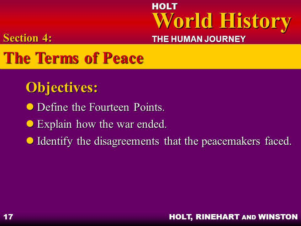 The Terms of Peace Objectives: Section 4: Define the Fourteen Points.