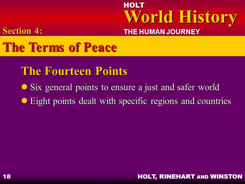 The Terms of Peace The Fourteen Points Section 4: