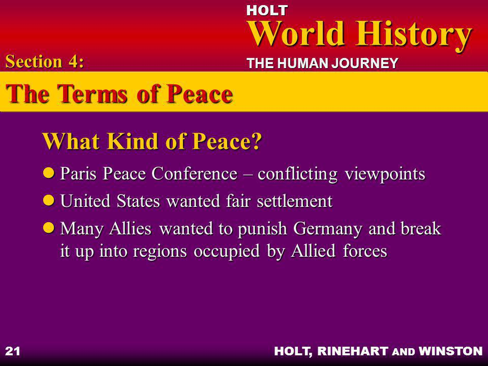 The Terms of Peace What Kind of Peace Section 4: