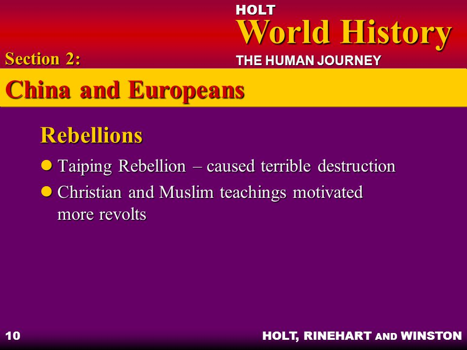 China and Europeans Rebellions Section 2: