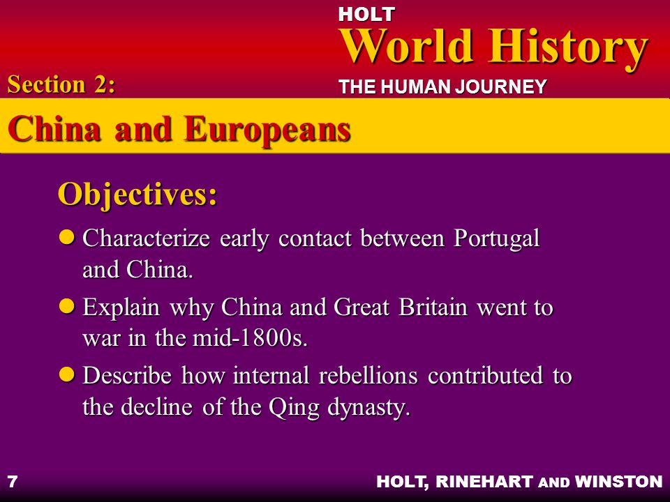 China and Europeans Objectives: Section 2: