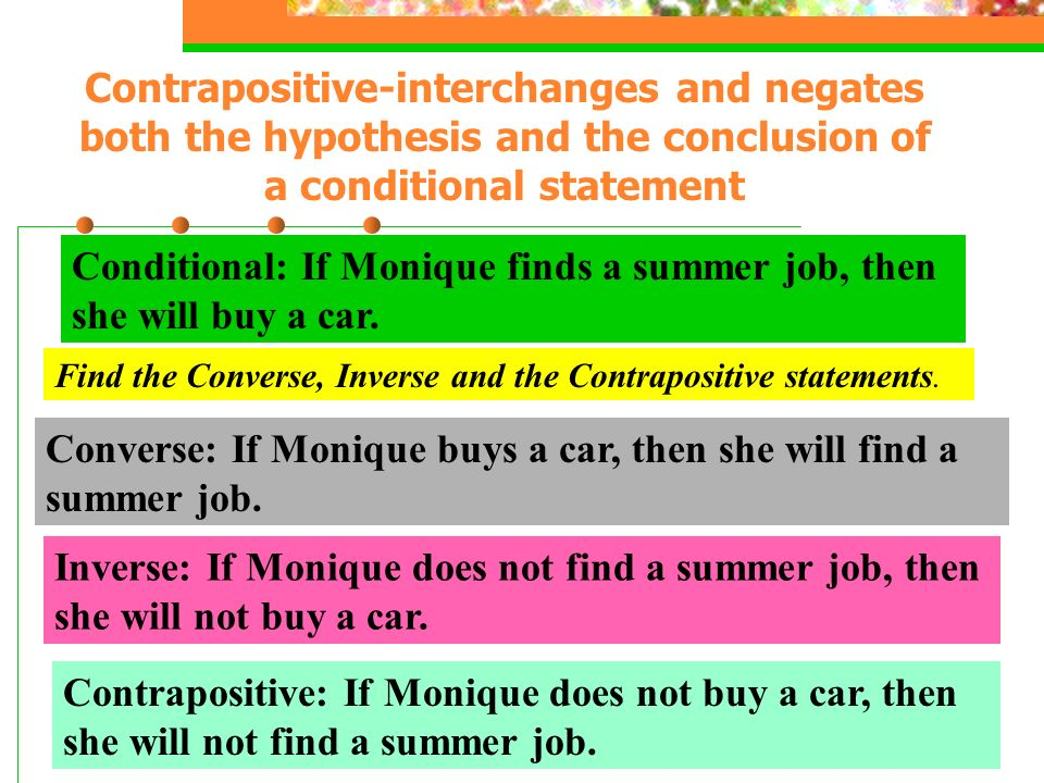 Conditional: If Monique finds a summer job, then she will buy a car.