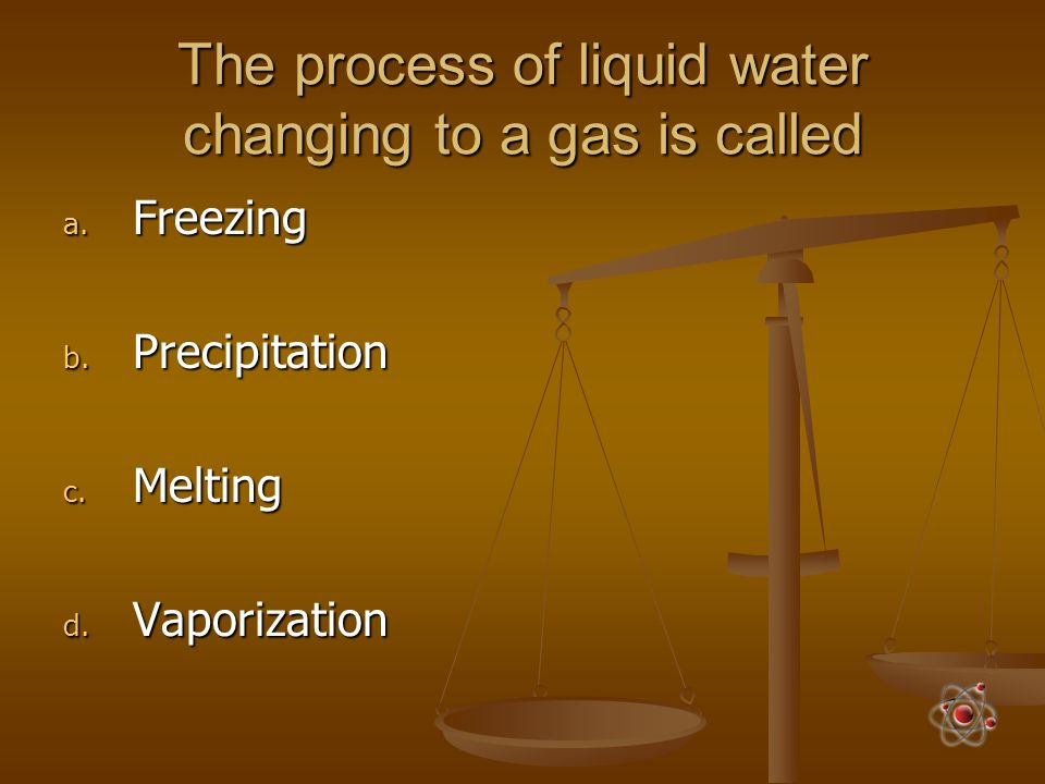 The process of liquid water changing to a gas is called