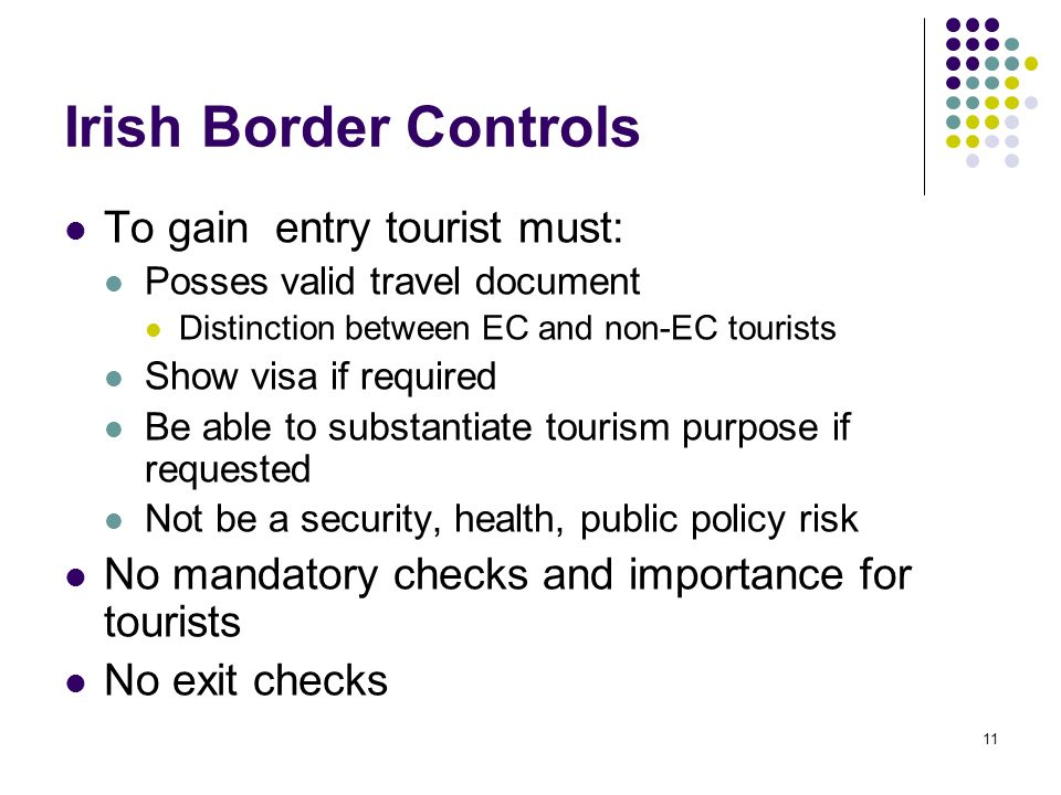 Irish Border Controls To gain entry tourist must: