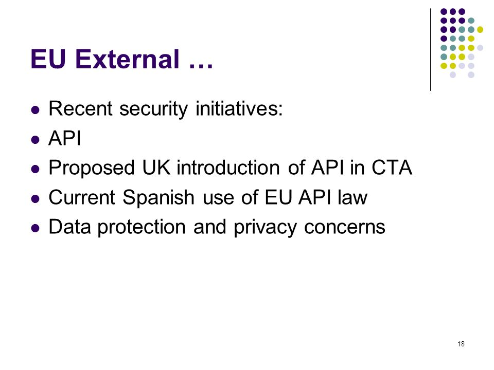 EU External … Recent security initiatives: API