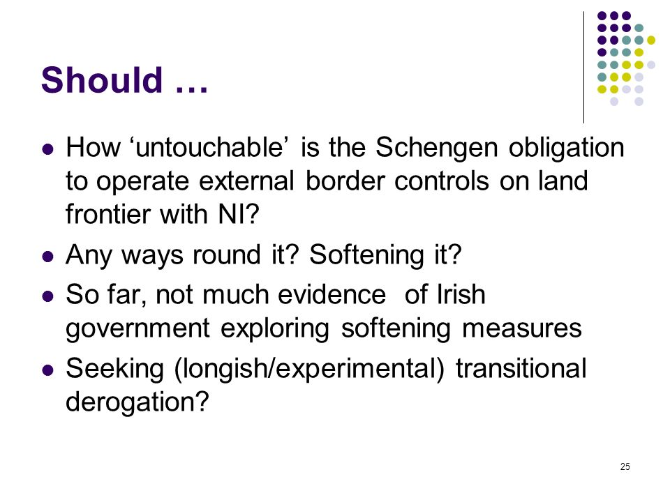 Should … How 'untouchable' is the Schengen obligation to operate external border controls on land frontier with NI